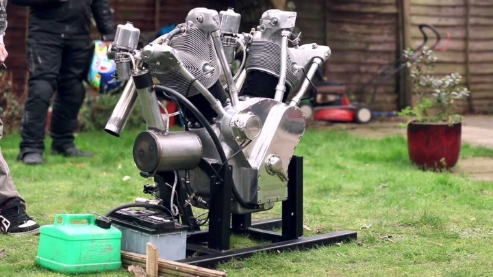 The Flying Millyard 5 Litre V Twin first test run