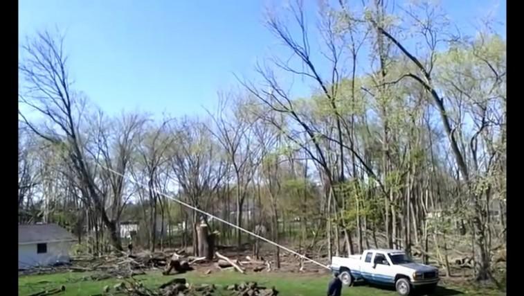 Truck Pulling Tree Falls the Wrong Way!